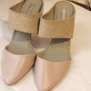 BCBGeneration high heel shoes, baby pink and tan